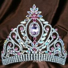Impressive Pink Tiara Diadem Austrian Rhinestones Crown Beauty Pageant Costume