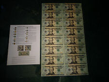 16 UNCUT SHEET $20  *$20x16 *Legal USA $20 DOLLAR BILLS*Rare Real Currency Note