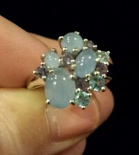 "14K White Gold ""Shades of Blue"" Multi-Gem Ring, Size 7, Chalcedony/Aqua/Iolite"