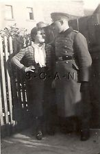 WWII German RP- Soldier with Girlfriend- Frau- Wife- Arm on Hips- Overcoat- Hat