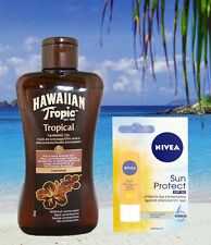 TANNING LOTION HAWAIIAN TROPIC ZERO FACTOR TAN OIL SPF 0 & NIVEA LIP BALM SPF 30