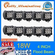 10X 4inch 18W FLOOD CREE LED LIGHT BAR WORK OFFROAD BOAT UTE CAR TRUCK SUV 4WD