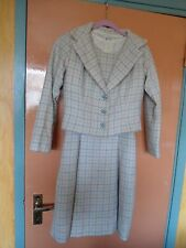 TRUE VINTAGE 1960'S HARRIS TWEED CREAM CHECK DRESS & JACKET SUIT SIZE 6-8