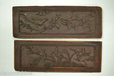 2 X Collectible Chinese Antique Wood Carvings Panels Home Decor Wall Art WS-08