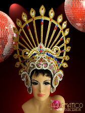 CHARISMATICO Ruby, Sapphire and amethyst accented Gold Drag Queen Diva Headdress