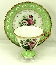 Vintage Green Roses Reticulated Footed Embossed Teacup & Saucer Japan #5063