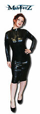 Misfitz black pvc zip pencil mistress dress, size 18 goth fetish tv
