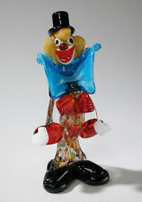 Venetian Murano Art Glass Clown with Blue Bow Tie Black Hat