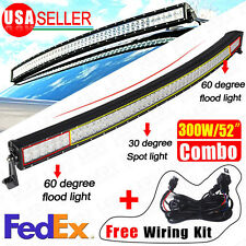 "300W 52"" Curved Combo Offroad Work LED Light Bar Driving DRL SUV 4WD Boat Truck"