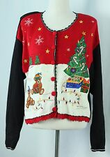 Ugly Christmas Sweater L Bears Tree Tacky Holiday Party Ideas Cardigan  Large