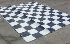 RV Patio Awning Mat Reversible Outdoor Rug 9x12 Black Silver Checkered 9x12C