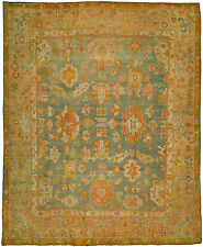 Antique Turkish Oushak Ushak Rug Size 11'10''x14'7'' Turquoise