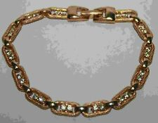 Clear Rhinestone Gold Tone 7-1/2 Inch Arm Candy Bracelet Costume Jewelry