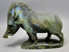 Labradorite Warthog Animal Gemstone Carving Rock 4.75 inch Pumba #219