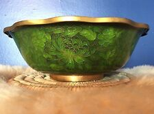 "Antique Cloisonne Green Floral Art Enamel Brass 10"" Bowl Chinese Scalloped Edge"