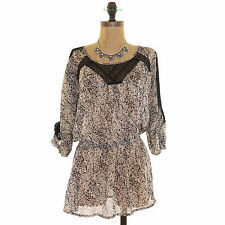 LOVE FIRE NORDSTROM JUNIORS PRINTED TUNIC BLOUSON 3/4 SLEEVE TAN BLACK TOP S B59