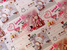 3 RABBIT HEART ANIMAL PINK WRAPPING GIFT CRAFT PAPER JAPANESE BIRTHDAY PARTY C9