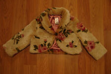 "GYMBORee ""LA BELLE EPOQUE"" Rose Fur/Satin Jacket Shrug 3 shabby short coat chic"