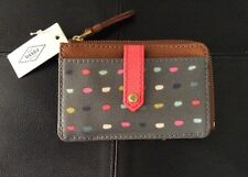 NWT FOSSIL Keely Tab Card Case in Polka Dots JBB