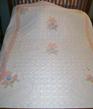 VINTAGE WHITE FULL QUEEN CHENILLE BEDSPREAD FLOWERS 105 x 94 CUTTER