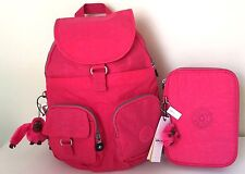 Kipling Firefly Backpack & 100 Pens Pencil Case Purse School Travel Vibrant PinK