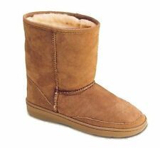 Minnetonka Childrens 2571 Golden Tan Suede Sheepskin Moccasin Pug Boots 10M