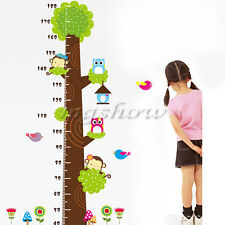 Owls Monkey Tree Height Chart Wall Sticker Vinyl Decal Kids Room Decor Nursery