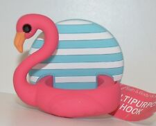 NEW BATH BODY WORKS STRIPED PINK FLAMINGO SHOWER SPONGE RAZOR HOOK LOOFAH HOLDER