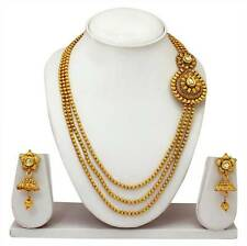 Traditional Indian  Bridal Gold Plated Diamond Necklace Earrings Jewelry Set