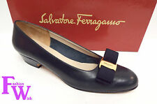 FERRAGAMO Size 7 AA Narrow LILLAZ Navy Blue Vara Bow Heels Pumps Shoes