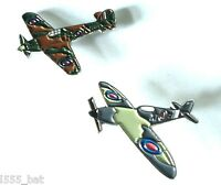 New WW2 WWII RAF Spitfire & Hurricane Military Aircraft Metal Enamel Badges Pair