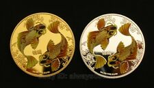 A Pair of 2pcs Double Koi Colored 24K Gold & Silver Plated Feng Shui Coins Token