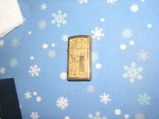 ZIPPO 1996 SLIM BRASS VENETIAN ETCHED FINISH ON TWO SIDES ENGRAVING AREA