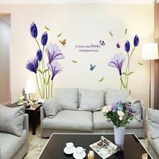 Fashion Purple Tulips Flowers Wall Stickers For Living Room DIY 3d Wall Sticker