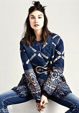 NWT Free People NR Heirloom blue wool silk oversize Arrow Quilted Jacket XS $500