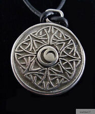 "Celtic Triple Moon Necklace Pendant Pewter 19"" Cord Lobster Claw Clasp Unisex"