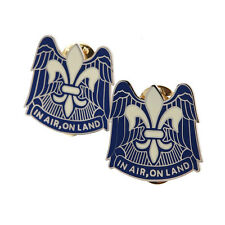 """PAIR OF US 82ND AIRBORNE DIVISION """"IN AIR ON LAND"""" METAL PIN BADGE -33621"""