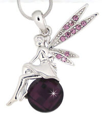 Tinkerbell Fairy Purple Austrian Crystal Pendant Silver .925 Chain Necklace