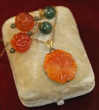 FINE ANTIQUE RED JADE PENDANT C.1910 NECKLACE & PIERCE EARRING HAND CARVED SET