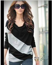 Elegant and Comfortable Diagonal Stripes Long Sleeves T-Shirt