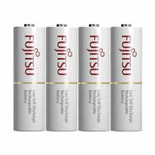 "NEW 4 Pack FUJITSU AA Rechargeable Batteries 2000 mAh with 4 ""D"" size spacers"