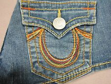TRUE RELIGION RAINBOW JOSIE WOMENS DENIM BLUE JEAN SHORT SHORTS SIZE 25 NEW