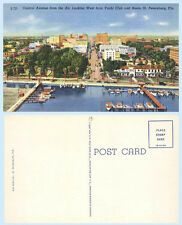 Aerial View Central Ave St Petersburg Florida 1941 Teich Postcard Yacht Basin
