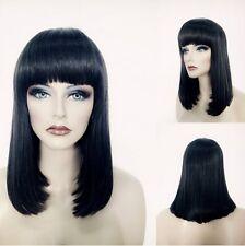 100% Echthaar! Mode Lang Schwarz Glatt Perücke Menschliches Haar Perücke 107