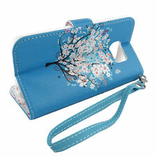 For Samsung Galaxy S6 Edge Wallet w/ Strap Flip Case Credit Card Cover Teal Tree