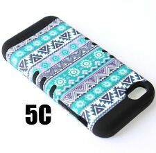 For iPhone 5C - HARD & SOFT RUBBER HYBRID IMPACT CASE GREEN BLACK AZTEC FLOWERS