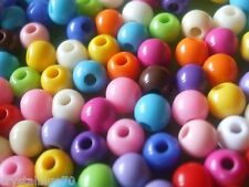 200 x 6mm Round Beads Acrylic Solid Mixed Colours  Crafts Findings - ABRSM6MM