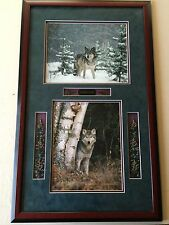 "Millcreek Wildlife Reflections ""Timber Wolf"" 2 Photos, Hand Signed, Framed"