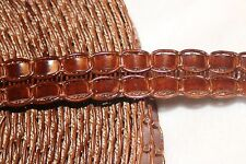 "1 yard Brown Faux Leather woven pleather belt sewing costume trim 7/8"" wide"