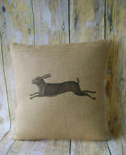 Brown Hare - Hessian cushion cover vintage shabby chic